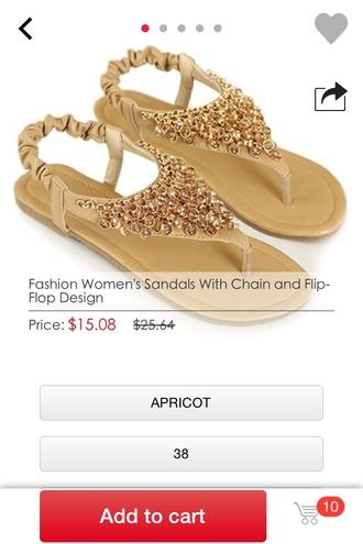 shoes sandals style shoes flip-flops apricot rhinestone sparkle