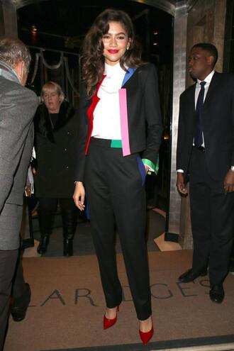 jacket suit pants zendaya pumps top fall outfits celebrity shoes