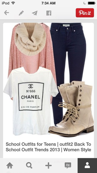 chanel t-shirt t-shirt sweater scarf boots
