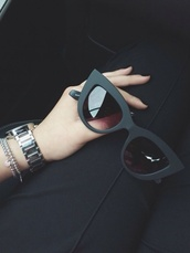 sunglasses,shades,cat eye,trendy,black,grunge,pale,tumblr,pale grunge,matte,matte black,black sunglasses