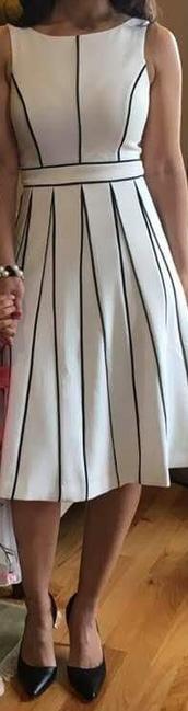 dress,white dress,black piping