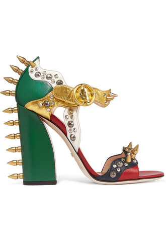 metallic embellished sandals leather sandals leather green shoes