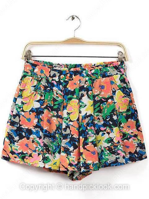 Multicolor Elastic Waist Floral Print Loose Shorts - HandpickLook.com