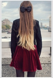 dress,hair bow,bow,black bow,red velvet dress,red dress,black jacket,jacket,ombre,blonde ombré,ombre hair,black tights,black lace jacket,lace jacket,skirt,shirt,velvet skirt,holiday season