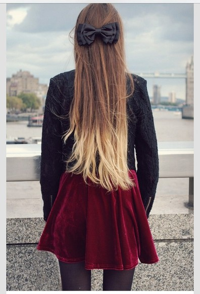 shirt jacket black jacket dress hair bow bow black bow red velvet dress red dress ombré blonde ombré ombre hair black tights black lace jacket lace jacket skirt