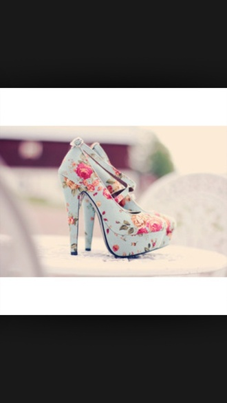 shoes heels high heels blue blue shoes blue heels indigo heels indigo shoes light blue heels light blue shoes light blue high heels floral floral print shoes floral heels floral high heels heels with straps shoes with straps platform shoes platform and heels flowers pink roses flowered shoes summerfloral