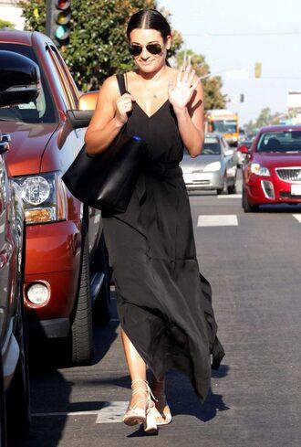 dress maxi dress slit dress summer dress black dress lea michele sandal heels sandals sunglasses