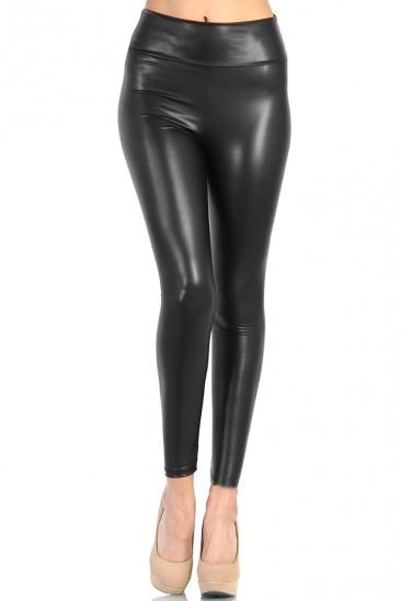 OMG High Waist Leather Pants - Black