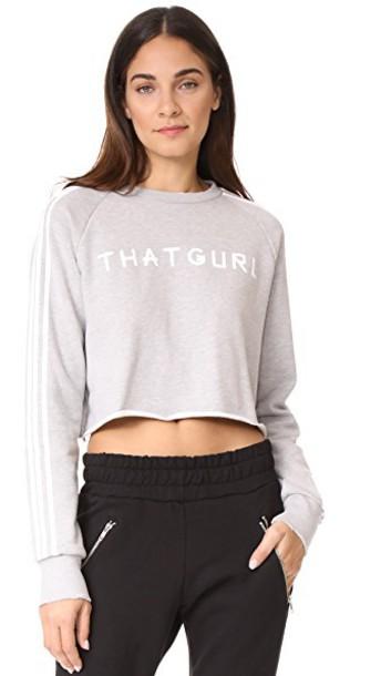 Baja East sweatshirt cropped light grey sweater