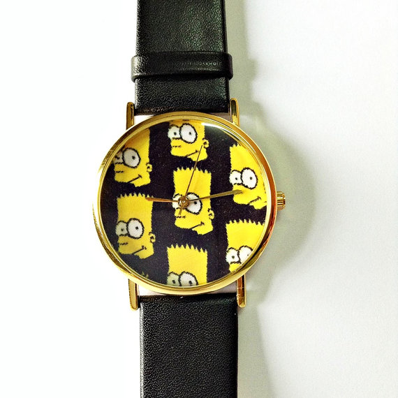 Bart simspon watch vintage style leather watch women by freeforme