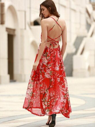 dress floral red fashion style trendy summer spring maxi dress open back gamiss