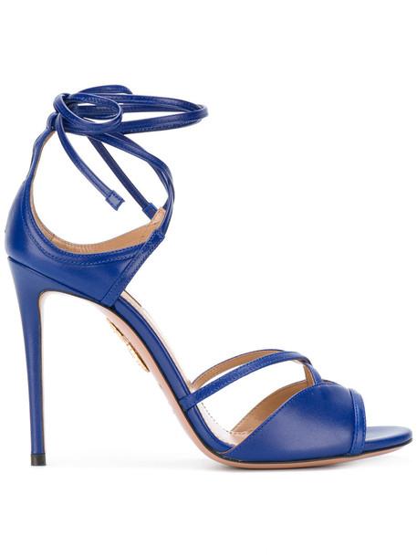 Aquazzura women sandals leather blue shoes