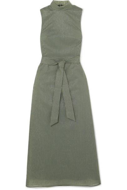 Cefinn dress metallic cotton green