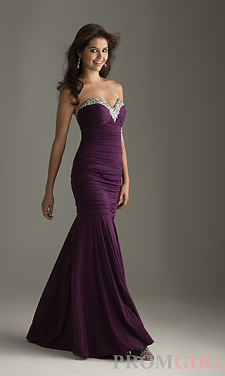 Night Moves Elegant Strapless Dresses, Jersey Gowns- PromGirl