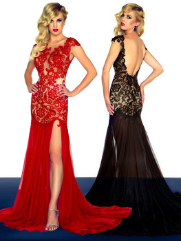 Aliexpress.com : Buy Sexy Fast Shipping Evening Dresses 2015 vestido de festa Sexy Red/Black Mermaid Lace Up Long Chiffon Evening Gown for women Sale from Reliable gown wedding dress suppliers on DressHome