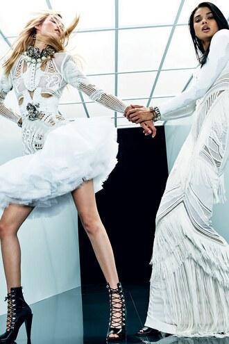 dress white white dress booties balmain maxi dress model paris fashion week 2017 tulle skirt tulle dress