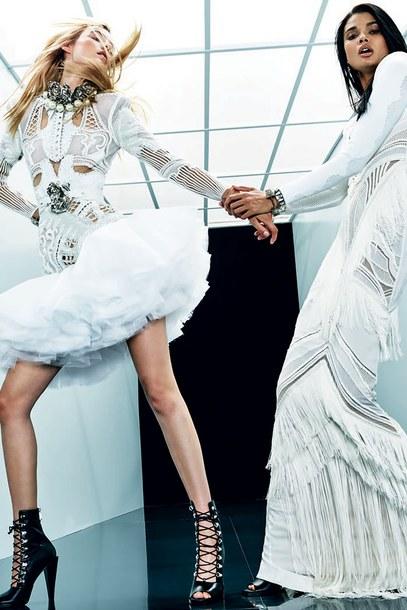 69f9725bfb9 dress white white dress ruffle booties balmain maxi dress model Paris  Fashion Week 2017 tulle skirt