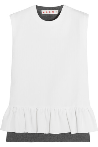 top peplum top wool white