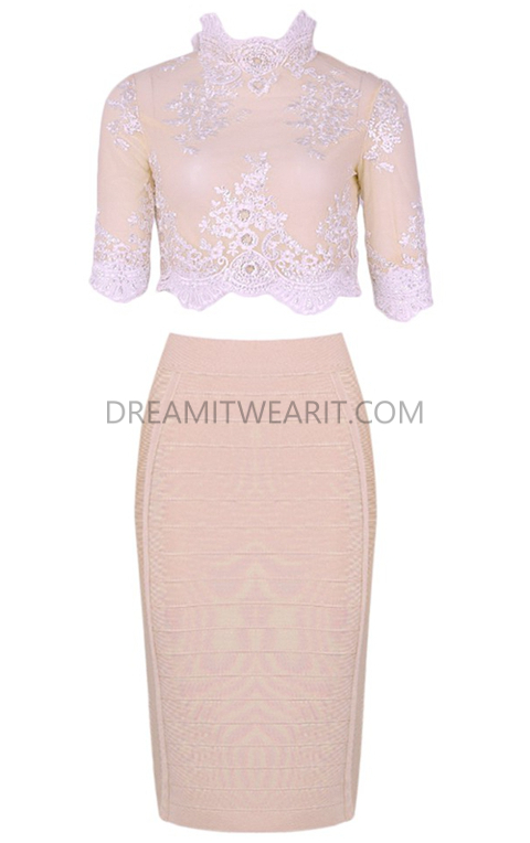 Short Sleeve Lace Midi Two Piece Dress Nude