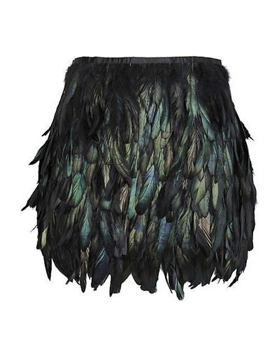 Feather skirt mini black peacock raibow silver night party evening