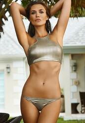 swimwear,metallic swimsuit,metallic bikini,bikini,bikini top,bikini bottoms,metallic