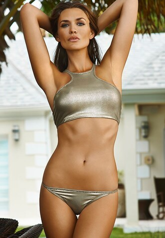 swimwear metallic swimsuit metallic bikini bikini bikini top bikini bottoms metallic