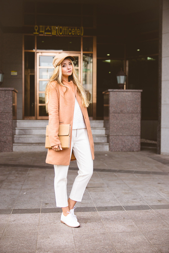 blogger camel coat my blonde gal cropped pants cap pouch derbies