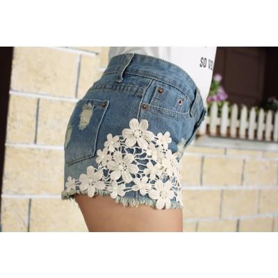 Buy Fashion Clothing -  Crochet flowers edges and rivets women's denim shorts  - Shorts - Bottoms