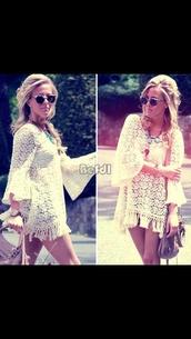 dress,hoppy,white,boho,hippy dress