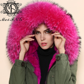 2015 new arrival women winter hot pink faux fur parka coat long ...