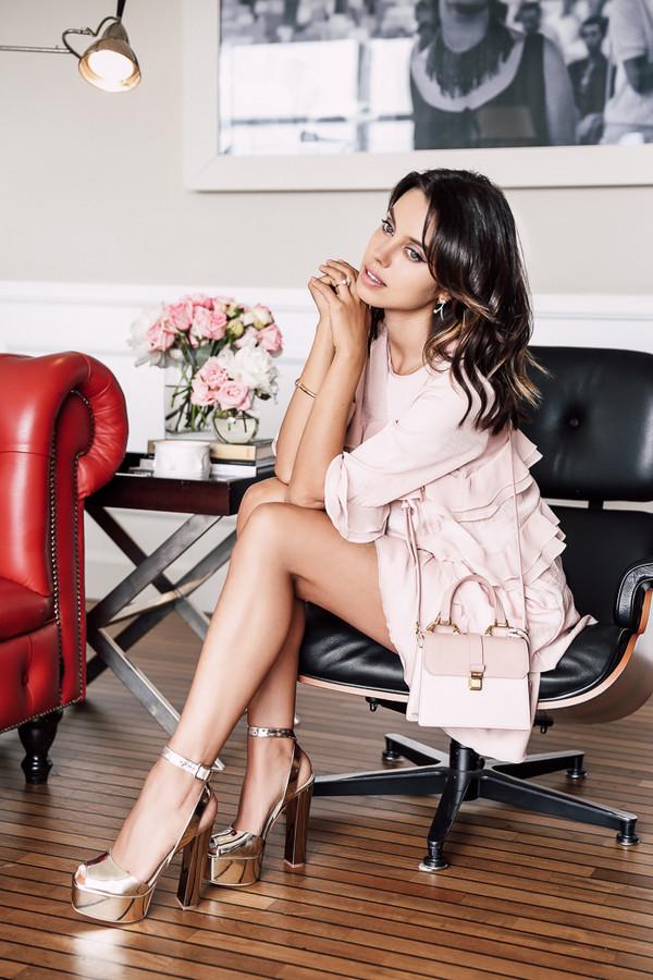 07b7ab587825 viva luxury blogger shoes bag jewels pink dress thick heel silver shoes  mini bag pink bag.