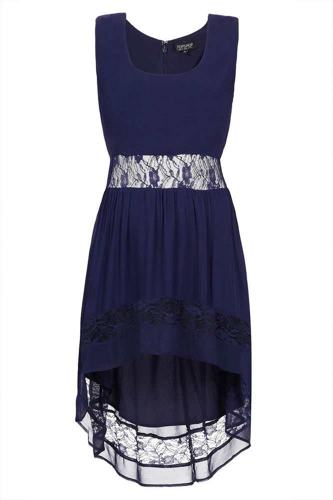 TOPSHOP Border Lace DIP Hem Dress Midnight Blue Size 4 | eBay