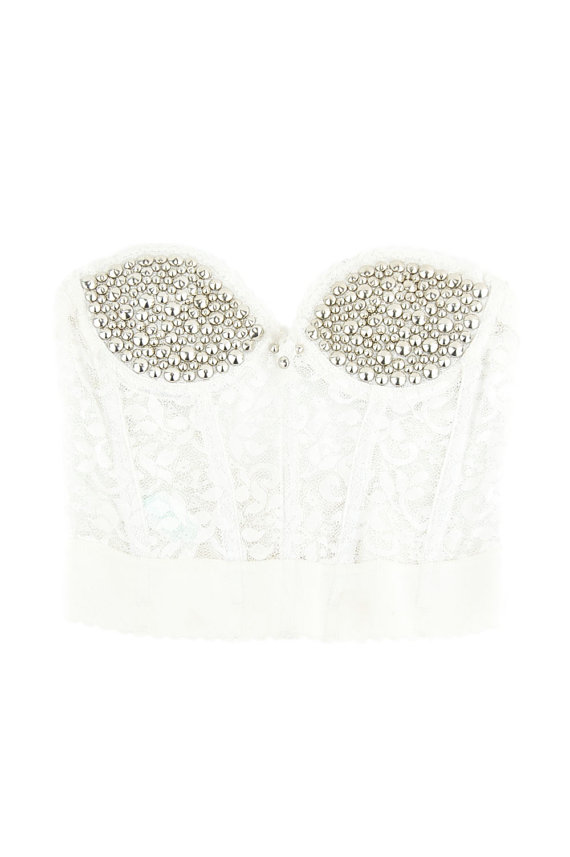 Vintage White Lace Studded Corset Bra Top / 34A by omcvintage