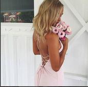 dress,tie back maxi dress,maxi dress,chocolate maxi dress,maxi,maxi skirt,low back dress,tie up dress,pink dress