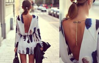 dress backless dress print
