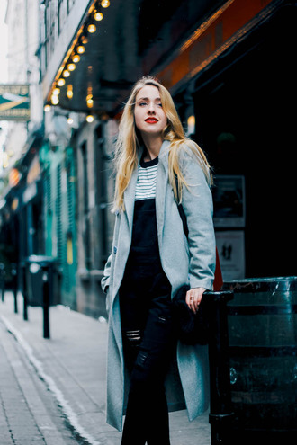 anna pogribnyak city fashion: my vision blogger coat jumpsuit sweater bag jewels shoes