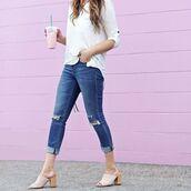 shoes,tumblr,mules,white shoes,denim,jeans,blue jeans,ripped jeans,cuffed jeans,top,white top