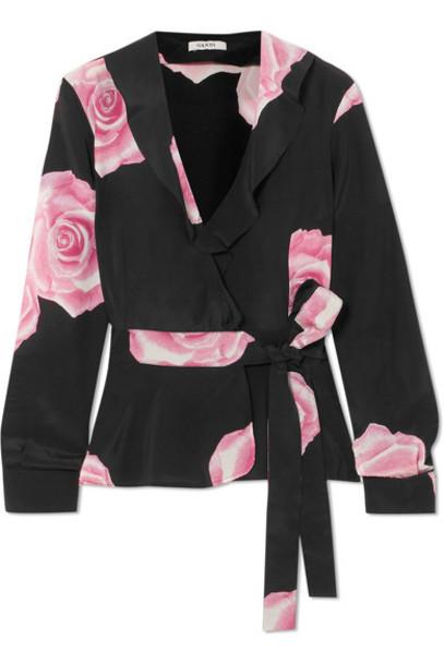 top wrap top floral print black silk