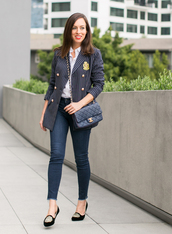sydne summer's fashion reviews & style tips,blogger,jacket,shirt,belt,jeans,jewels,bag,shoes,make-up,chanel,blazer,smoking slippers,fall outfits