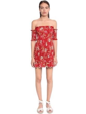 dress off the shoulder floral red
