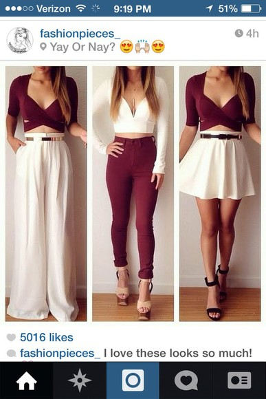 white pants burgundy top white crop top burgundy pants