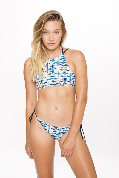 bikini top blue halter neck print racerback sporty blue and white swimwear bikini bikiniluxe