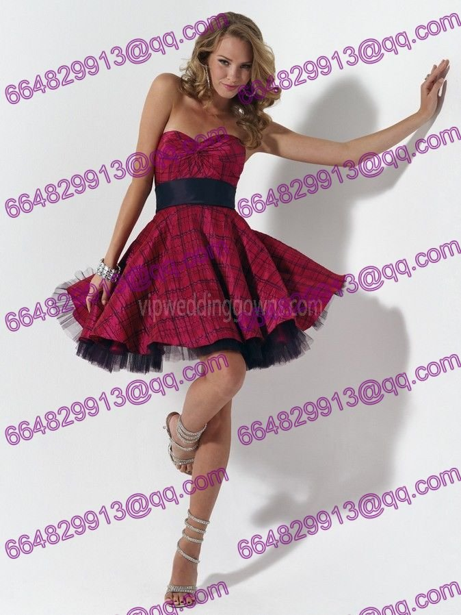 The strapless short plaid taffeta prom dress-in Prom Dresses from ...