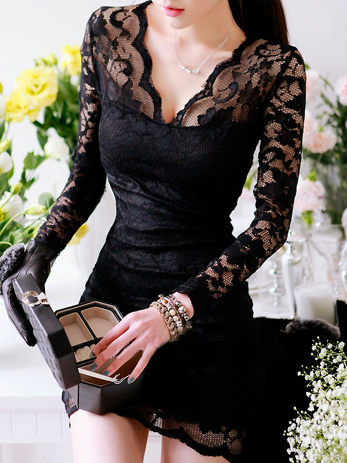 Seductive Long Sleeve Hollow Lace Curve Hugging Dress Black  -  BuyTrends.com