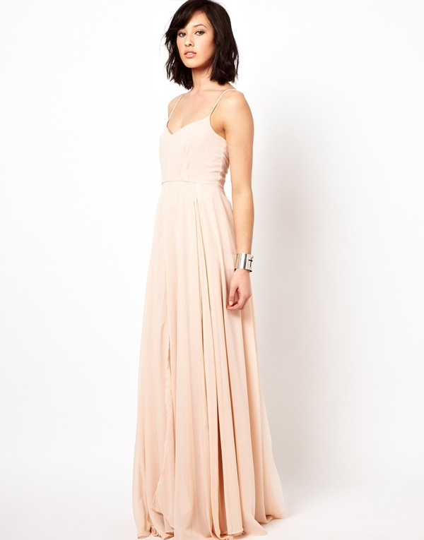 dress maxi dress chiffon blush spaghetti strap long bridesmaid dress