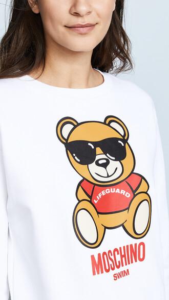sweater graphic sweater bear white