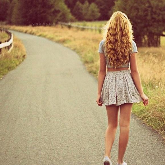 skirt cute floral skirt crop tops