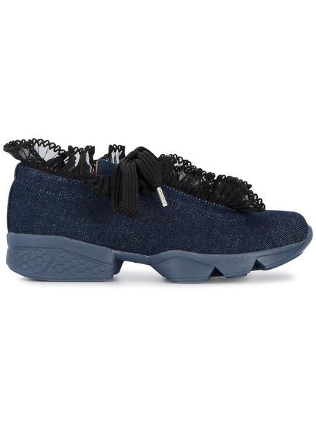 Ganni denim ruffle women sneakers leather cotton blue shoes