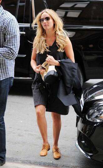 dress summer dress jennifer lawrence sunglasses flats