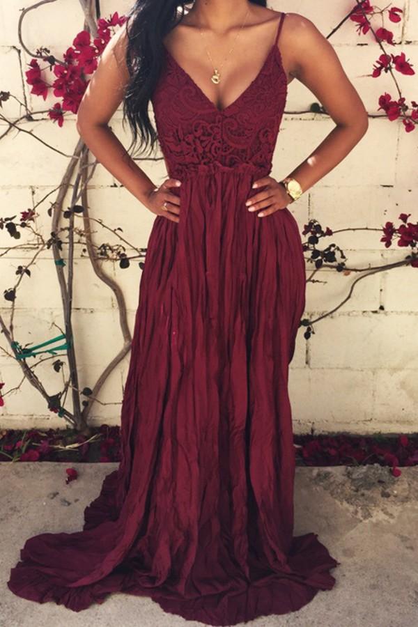 0fd933698e Lace Spliced Open Back Maxi Dress WINE RED  Maxi Dresses